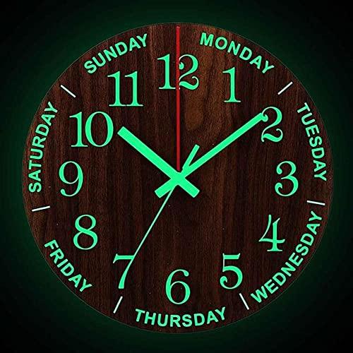 Reloj de Pared Luminoso de Madera de 12 Pulgadas,Reloj de Moda Nórdica con Luz Silenciosa en la Oscuridad,Reloj Que No Hace Tictac con Relojes de Luz Nocturna