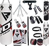 RDX Boxsack Gefüllt Set MMA Kickboxen Schwere Trainingshandschuhe Stanzen Handschuhe Hängen Kette Deckenhaken Muay Thai 13 STÜCK Kampfkunst 4FT 5FT (MEHRWEG)