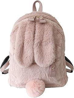 Peludo del Oído De Conejo Mochila Bandolera Linda Chica Peludo Mini Felpa Mullida Bolsa De La Escuela De Invierno Las Mujeres Viajan Bag Regalos, De Color Marrón Claro