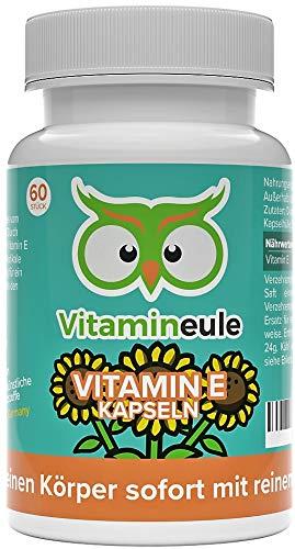 Vitamin E Kapseln - hochdosiert, natürlich & vegan - 100 mg / 150 i.E. - ohne künstliche Zusatzstoffe - Qualität aus Deutschland - kleine Vitamin E Kapseln statt große Tabletten - Vitamineule®