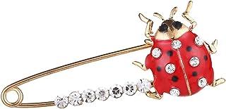 joyMerit Émail Rouge Cristal Insectes Coccinelles Broche épinglette Grand Corsage de Goupille de Sécurité
