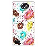 Hapdey Funda Transparente para [ LG X150 Bello 2 ] diseño [ Donuts con Chocolate y chispitas de Colores ] Carcasa Silicona Flexible TPU