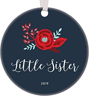 2019 Little Sister Christmas Ornament Pretty Bohemian Design Unique Thoughtful Gift Idea from Big Sis Holiday Stocking Stuffer Proud Parents New Baby Newborn Porcelain 3
