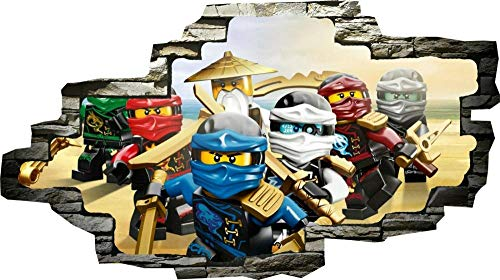 Pegatinas de pared Ninjago Lloyd Sensei Jay Kai 3D ventana pared vista pegatina póster vinilo