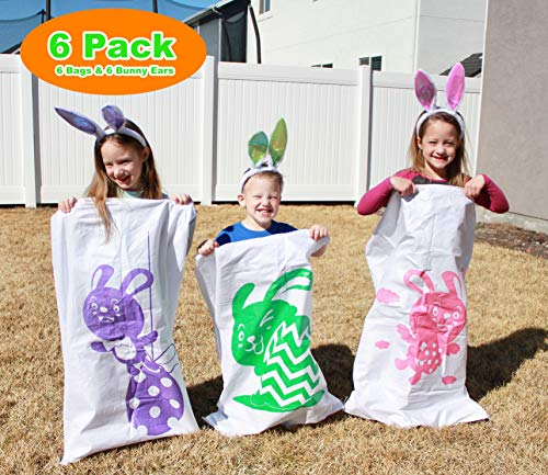 6Pcs Potato Sack Race Jumping Bags 40'' x 24'' with Bunny Ears Headbands for All Ages Kids Easter Theme Party Favor, Easter Eggs Hunt Game Activities, School Party Games, Great Family Outdoor Games