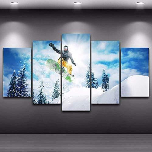 SLSMD-ART fotobehang 5 stuks canvas druk ski landschap kunst woonkamer slaapkamer decoratie, 100x55 cm Eén maat 20 x 35 cm x 2 20 x 45 cm x 2 20 x 55 cm x 1