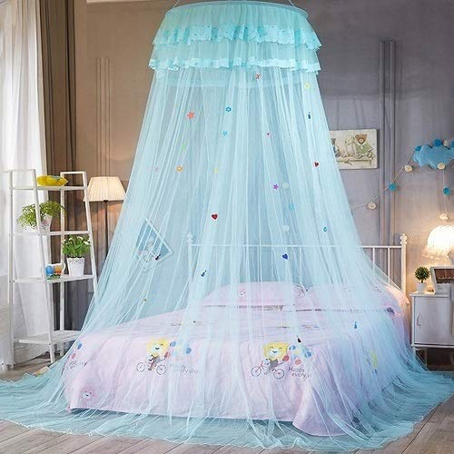 weichuang Mosquito net Round Lace Bedcover Curtain Dome Bed Canopy Princess Mosquito Net Hanging Kids Baby Bedding Canopy Mosquito Net mosquito net (Color : Blue)