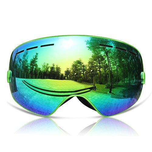 GANZTON Skibrille Snowboard Brille Doppel-Objektiv UV-Schutz Anti-Fog Skibrille Für Damen Und Herren Jungen Und Mädchen Grün