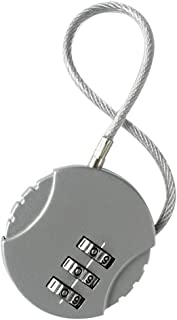 Korbond Cable Combination Padlock/Luggage Lock, 14 cm, Silver