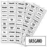 Gewürzetiketten (80 Stück) - Transparent - Aufkleber Gewürze Etiketten Selbstklebend - Vorratsetiketten - Rechteckig - Wasserfest - Gewürz Sticker - Küchenetiketten - klein 33x17mm