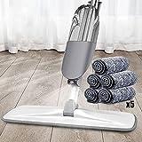 Fregona gris blanca para la limpieza del piso, con almohadillas...
