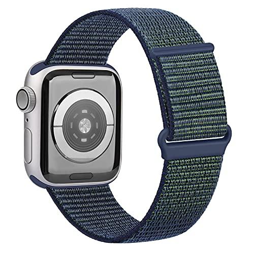 OUBK Correa Compatible con Apple Watch 44mm 42mm 38mm 40mm,Pulseras de Repuesto de Correa para iWatch Series SE 6 5 4 3 2 1,Mujer y Hombre(42mm/44mm,Azul Verde)