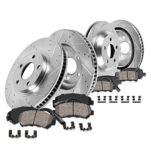 CDS02925 FRONT 373.88mm + REAR 370mm D/S 5 Lug [4] Rotors + Brake Pads + Clips + Sensors [fit 2009-2011 2012 BMW 750]