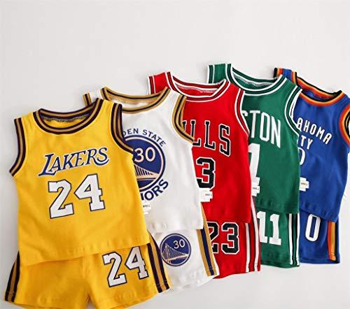 CHUANG Sport Baby Kids Set Trikot - Lakers Kobe # 24 / Bulls Jordan # 23 / New Jersey Trikot - Celtics # 11 / Warriors # 30# / Basketballfans für Jungen und Mädchen (x5)