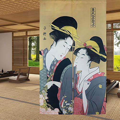 LIGICKY Noren Cortina de puerta de estilo japonés Ukiyoe Geisha Niñas Pintura de tipo largo Tapiz de puerta asiático Tratamiento de ventana para el hogar Sushi Decoración de cocina 85 x 149 cm