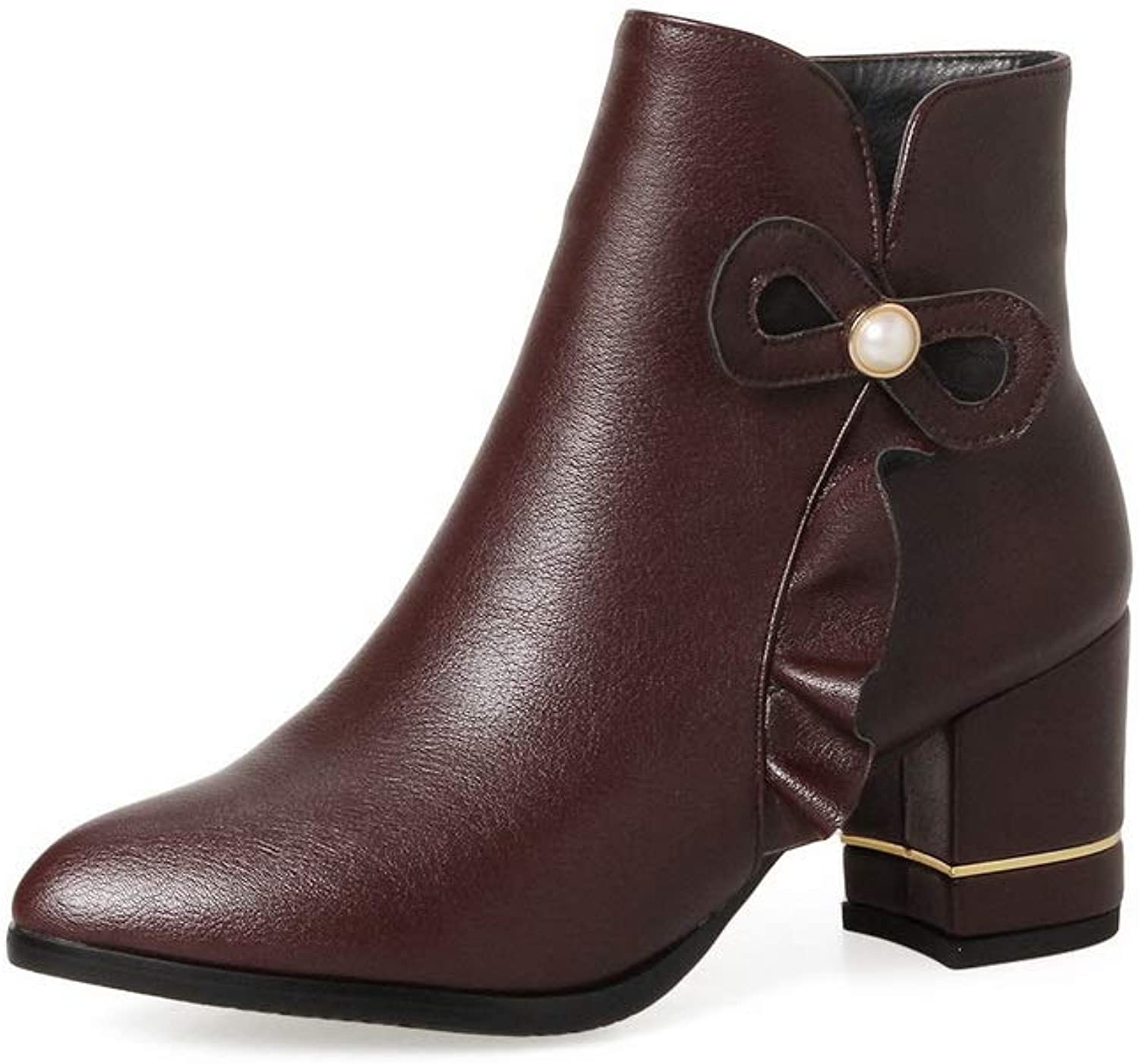 1TO9 Womens Chunky Heels Square Heels Pointed-Toe Cow Leather Boots MNS03230