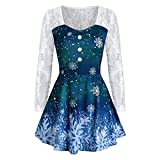 Lalaluka Vestido medieval para mujer, mini vestido de Navidad, copos de nieve, encaje, encaje, vestido medieval, Navidad, renacimiento, carnaval, disfraz de princesa, vestido de noche, azul, S