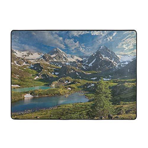 Alfombra de decoración de granja, Lago entre nieve Altai, gama de montañas Siberia prado en la naturaleza, 6 pies x 9 pies alfombra suave decoración del hogar