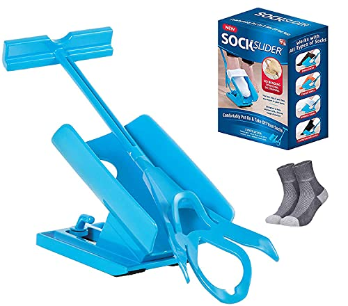 Sock Slider - The Easy on, Easy Off Sock Aid Kit & Shoe Horn   Pain Free No Bending, Stretching As Seen on TV