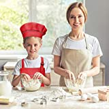 WEONE Kinder Schürze und Kochmütze Set, Kinder Einstellbare Kochschürze Kinderschürzen mit 2 Taschen für Jungen Mädchen, Kind Küchenschürzen für Küche Kochen Backen Malerei (7-13 Jahre) (Schwarz) - 7