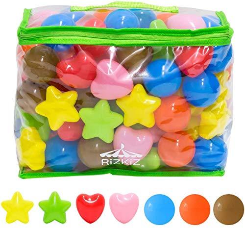 RiZKiZ カラーボール 丸/星/ハート カラフル 7色 100個入り 直径5.5cm 【やわらかポリエチレン製】 (プール/ボールハウス/キッズプレイサークル用)