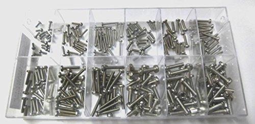 Sortimentskasten mit 240 Stück kleinen Linsenkopfschrauben nach DIN 7985 aus Edelstahl A2 (M2, M2,5, M3 und M4), PH-Kreuzschlitz, Linsenkopf. Minischrauben Sortiment inkl. beschrifteter Box
