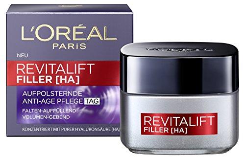 L'Oréal Paris Revitalift Filler Tagescreme mit Hyaluronsäure, Hochdosierte Hyaluron Gesichtscreme gegen Falten, Anti-Aging, Aufpolsterungs-Effekt und intensive Feuchtigkeit, 50ml