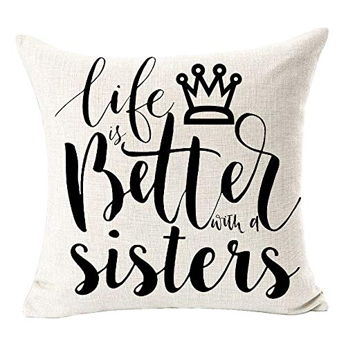 BUSAMEDO Best Gift Life is Better with A Sister Euporean Pattern Crown Sweet Home Cotton Linen Decorative Throw Pillow Cover Cushion Case Decor Sofa Square 18 inch