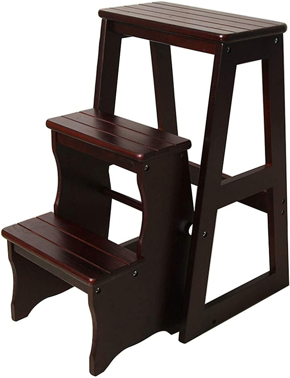 Step Stool Solid Wood Folding Chair 3 Step Stair Chair Portable Household Ladder Light Garden Tools Max Load 150KG (color Black Walnut)