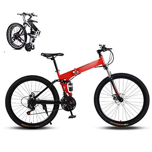 LJYY Mountain Trail Bike, Bicicleta Plegable portátil para Estudiantes Adultos, 24 velocidades Ruedas de 26 Pulgadas Freno de Disco Doble Bicicleta Plegable Neumático Grueso, Bicicleta Plegable B