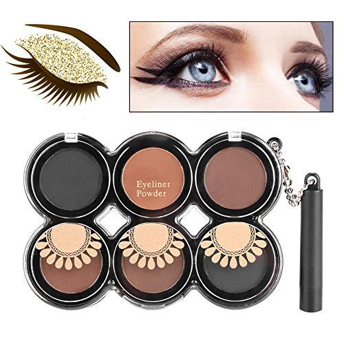 Miss Five Eyeliner Pressed Powder + Brush Waterproof Longlasting Eye Makeup Tool