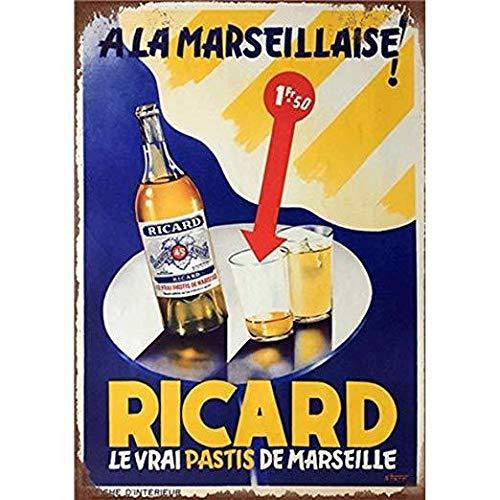 Lumanuby. 1x Vintage Bier Wandschild von Bierflasche und Tassen mit Wort ' Le VRAI Pastis de Marseille' Metall Beer Motiv für Bar Pub Club oder Restaurant, 20x30cm, Blau, Bar Sprüche Serie