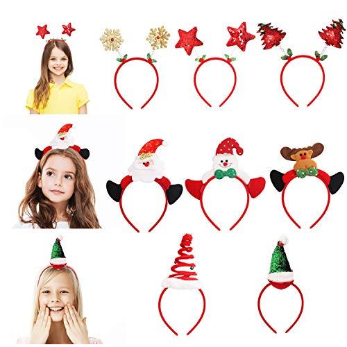 Belle Vous Diademas Navideñas (8 Piezas) Diademas Variadas de Reno, Espiral, Sombrero de Papá Noel Normal, Estrella, Copos de Nieve, Árbol de Navidad, Muñeco de Nieve para Fiesta, Celebraciones