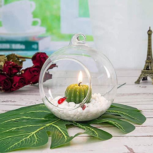 Ecosides Juego de 6 globos de cristal colgantes de 80 mm, portavelas de cristal, orbes de cristal, terrarios, macetas de aire, soporte para plantas de aire decor para hogar para bodas, fiestas, jardín