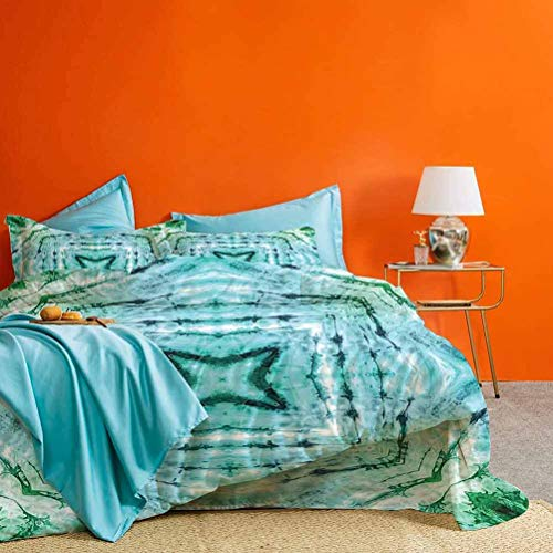 Tie Dye Decor Bedding Set Star inside Square Shaped Kaleidoscope Tie Dye Motive with Outer Figures Image Best Material/Highly Durable Teal Blue 3 Pieces (1 Duvet Cover and 2 Pillowcases) Cal King