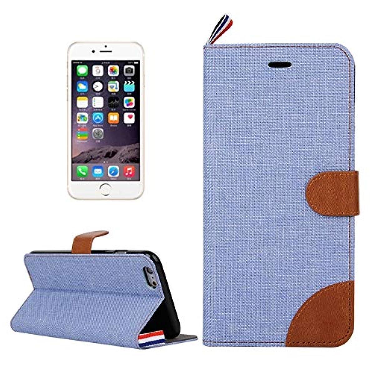 水族館レザーブラストYan iPhone 6 Plus&6s Plus用デニムのテクスチャカードスロット&ホルダー&ストラップ付き水平フリップレザーケース (Color : Baby Blue)
