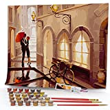 Opalberry Paint by Numbers for Adults, 16x20' Wrinkle-Free Rolled Canvas - Adults' Paint-by-Number Kits on Canvas - DIY Oil Painting by Numbers for Adults - Paint by Numbers for Adults Romantic Italy