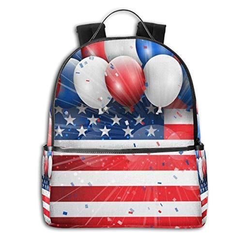 Reizen Laptop Rugzak Daypacks, College School Computer Bag Boekentas voor Vrouwen & Mannen Outdoor Camping Onafhankelijkheid Dag 4 Juli Viering met Ballonnen Confetti