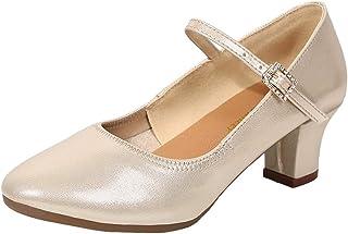 Celucke Sandalette Damen Standard Tanzschuhe Flamenco Pumps Prinzessinnen Schuhe Jazzschuhe Trainingsschuhe Mittelhohe Weiche Sohle für Ballerina Latein Salsa Tango Celucke