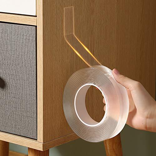 はがせる 透明 両面テープ 防水 水洗い可 魔法の 両面 テープ 魔法テープ のり残らず 粘着テープ 繰り返し 耐熱 寮 学校 会社 工業用など (3cmx0.2cmx2m)