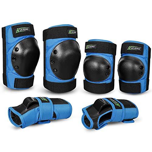 Everwell Protektoren Set, 6 in 1 Profi Schutzausrüstung für Kinder & Erwachsene - Verstellbar Knieschoner Ellenbogenschützer Handgelenkschoner für Inliner Skaten Roller Skateboard