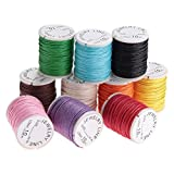 ROSENICE Baumwollschnur Gewachst 1MM 10 Rollen Wachsschnur für Schmuck Perlen Handwerk Machen,10M Längen