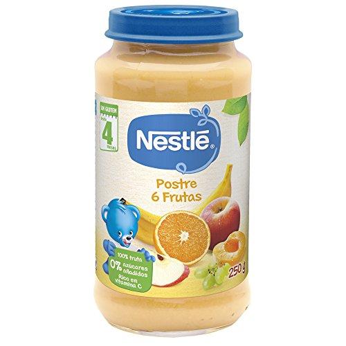 Nestlé Purés - Tarrito de puré de fruta, variedad Postre 6 Frutas,...