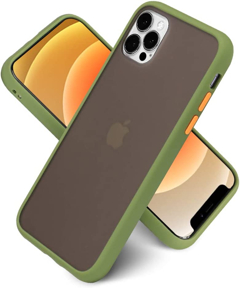 LITTLETREE Compatible with iPhone 11 Pro Max Case Matte,Translucent Matte PC with Silicone Bumper Protective Cell Phone Case 6.5 Inch. (Army Green)