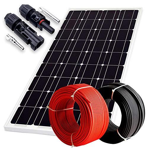 WccSolar Solarpanel 370 W Monokristallin 72 Zellen 12 V 24 V 48 V hohe Leistung mit 10 m Kabel und MC4 Steckern