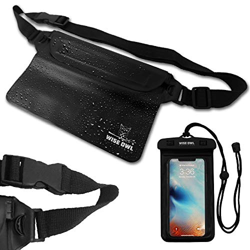 Wise Owl Outfitters Waterproof Fanny Pack Pouch Waist Bag & Phone Case for Men & Women Great Pouches to Keep Wallets, iPhone and Keys Dry While Swimming, Boating and at The Beach