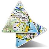 2 pegatinas triangulares de 7,5 cm – Frejus Town Francia Francia mapa de viaje divertidos calcomanías para portátiles, tabletas, equipaje, reserva de chatarra, nevera #45072