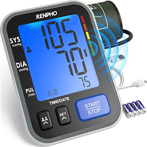 RENPHO Oberarm-Blutdruckmessgerät mit Spracheausgabe, Vollautomatische Blutdruck- und Pulsmessung für Zuhause, Extragroße Oberarmmanschette 22-42 cm, Großes Display, 240 Speicherplätze für 2 Benutzer