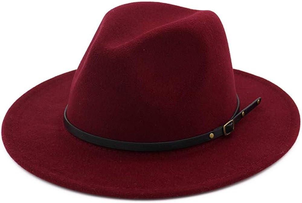 DJB Women's Classic Wide Brim Wool Fedora Panama Hat with Belt Buckle