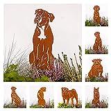 Gartenstecker Edelrost Hund Deutscher Boxer Handmade Germany, Höhe 30cm tolle gartendeko aus Rost-Metall, deko hundefigur, Rostfiguren Tiere, rostfiguren Garten, Hund deko,